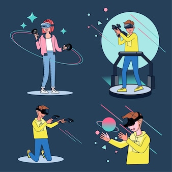 Woman and man playing with virtual reality headset