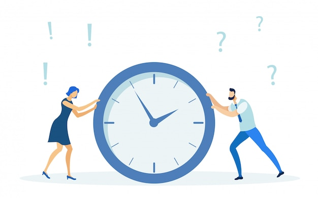 Woman and man pushing clock, deadline concept.