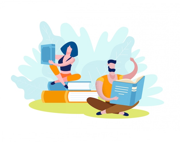 Woman and man read books
