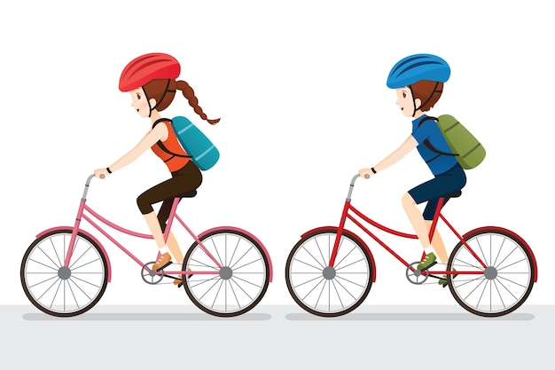 Woman and man riding bicycle, exercise for good health