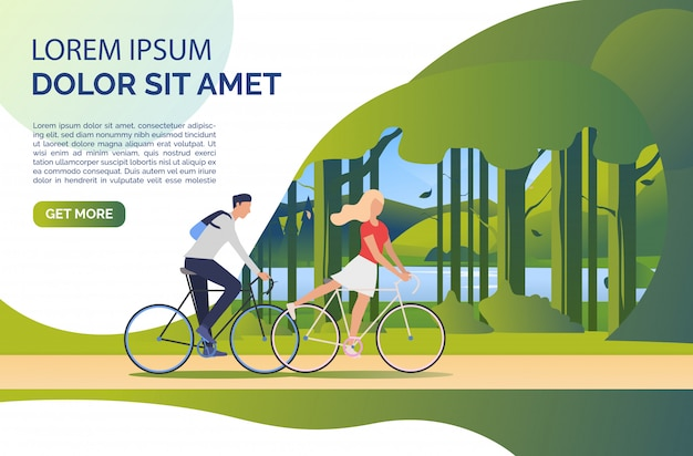 Woman and man riding bicycles, green landscape and sample text