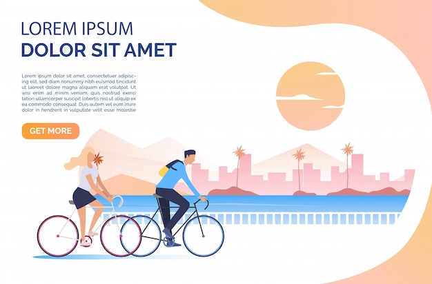 Woman and man riding bicycles, sun, cityscape and sample text