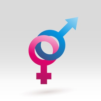 Woman and man sex sign in pink and blue gradient color