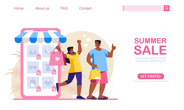 A woman and a man shop with summer discount at mobile application store. online shopping concept, perfect for web design, banner, mobile app or landing page. scalable and editable illustration.