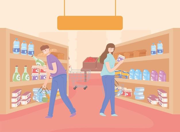 Woman and man shopping market