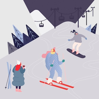 Woman and man skiing in the mountains. people character with skis on the snow landscape background. winter outdoors leisure in resort, extreme sport.