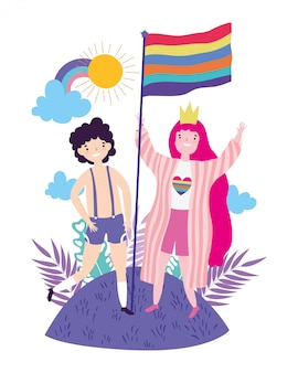 Woman and man supporting lgtbi march