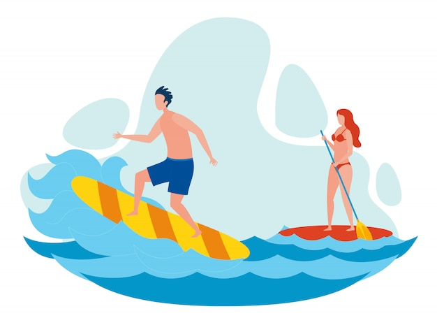 Woman and man surfing flat vector illustration
