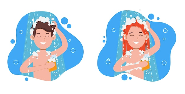 Woman and man taking morning shower in bathroom. washes head, hair and body with shampoo and soap.