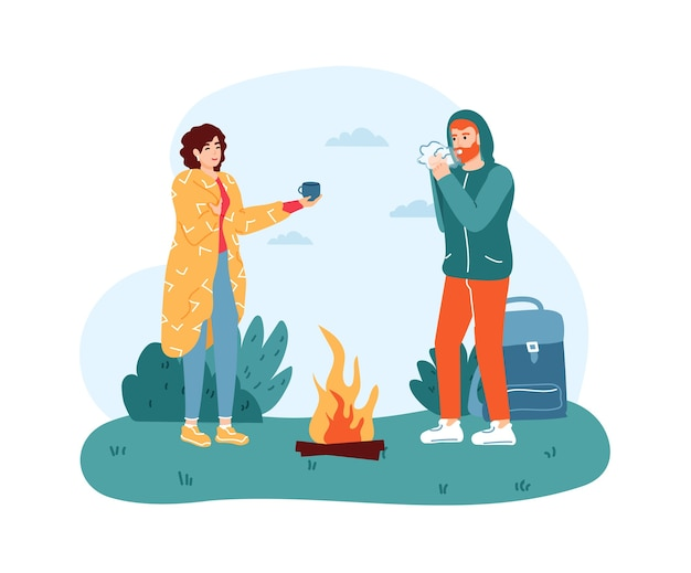 Woman and man travelers standing near campfire.