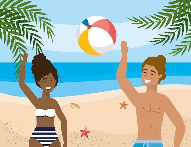 Woman and man wearing swimsuit and playing with ball