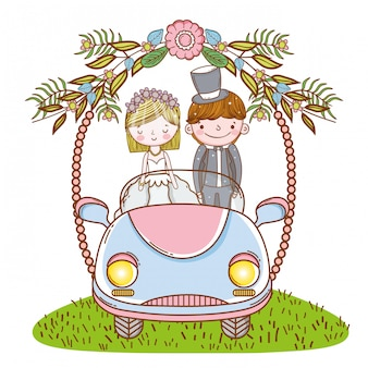Woman and man wedding in the car with flowers plants