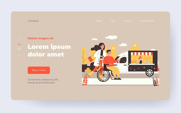 Woman and man in wheelchair walking outside. city part, disabled person, assistant flat vector illustration. disability, diversity concept for banner, website design or landing web page