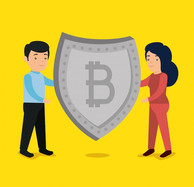 Woman and man with bitcoin currency shield