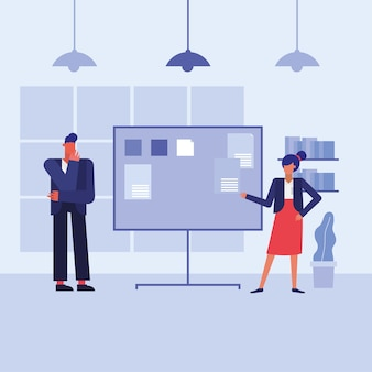 Woman and man with board in the office design, business objects workforce and corporate theme