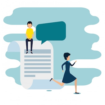 Woman and man with chat bubble and document