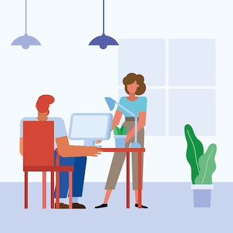 Woman and man with computer at desk in the office design, business objects workforce and corporate theme