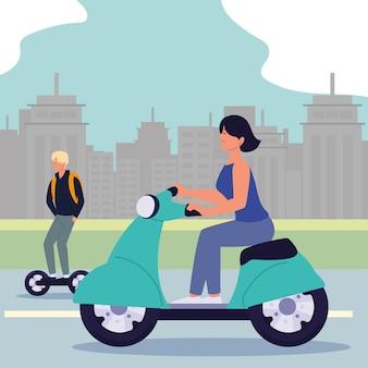Женщина-мужчина с электротранспортом