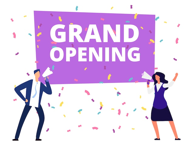 Woman and man with loudspeaker at grand opening banner and conffetti. vector illustration