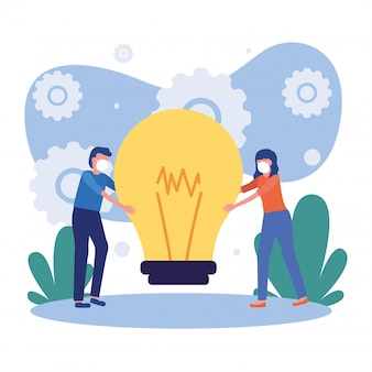Woman and man with mask and light bulb Premium Vector