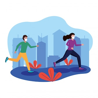 Woman and man with mask running at city