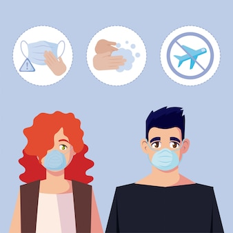 Woman and man with medical mask and icon set