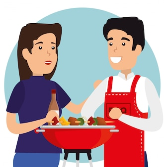 Woman and man with sausages in the grill