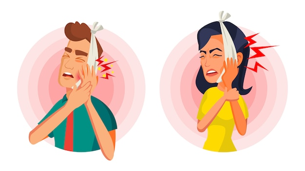 Woman and man with toothache illustration