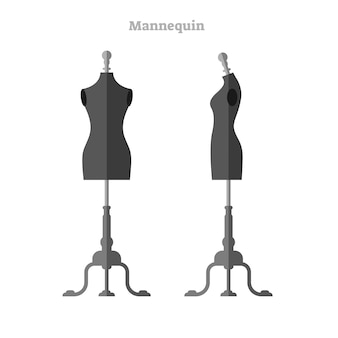 Woman mannequin vector illustration, side and front view