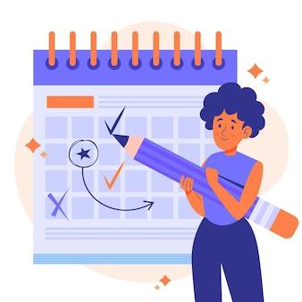 Женщина, отмечающая концепцию управления временем планировщик