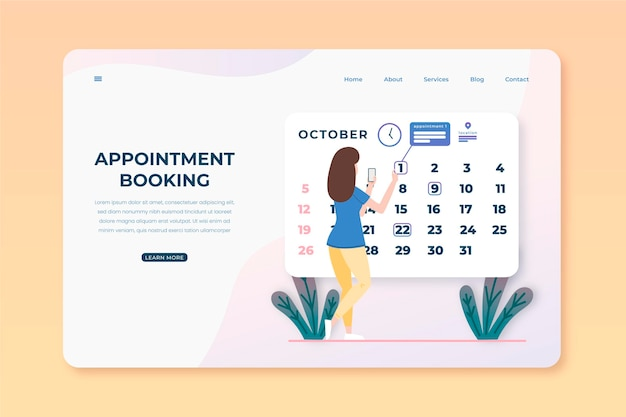 Woman marking her appoiment booking days landing page