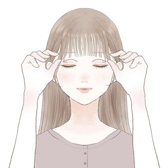 Женщина массирует глаза. на белом фоне.