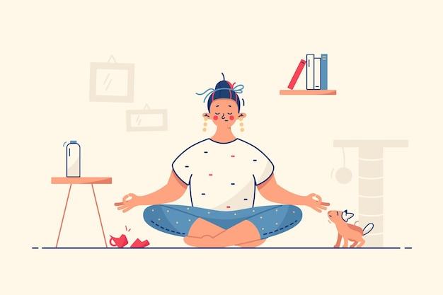 女性は自宅で瞑想するイラスト