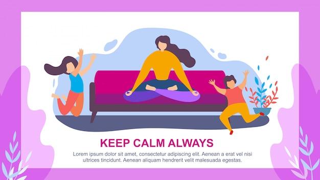 Woman meditate children jump keep calm always