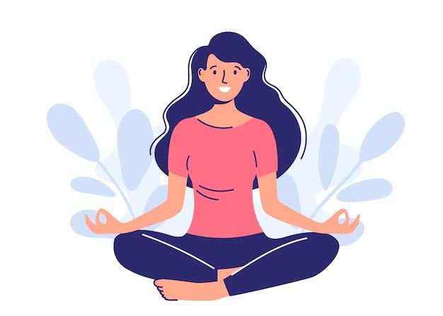 女性は自然の中で瞑想します。ヨガ、瞑想、リラクゼーション、リラクゼーションのコンセプト。