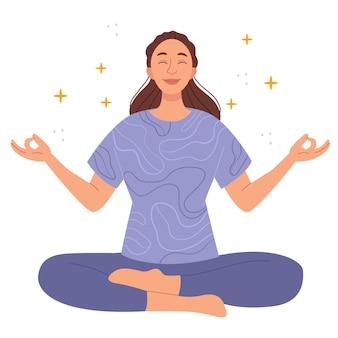 女性は蓮の位置で瞑想しますyogazenとrelをしている紫色のスポーツスーツの美しい女性