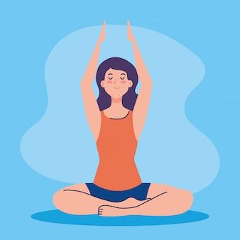 여성 명상, 요가, 명상, 휴식, 건강한 라이프 스타일에 대한 개념
