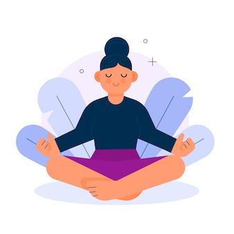 女性の瞑想のコンセプト