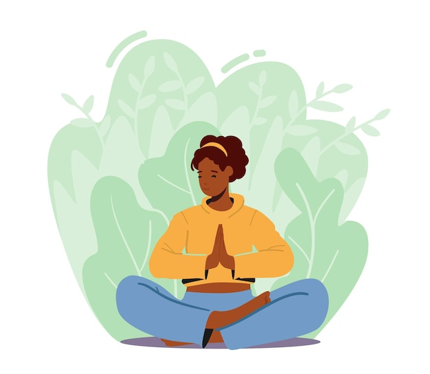 蓮華座で瞑想する女性、アウトドアヨガを楽しむ女性キャラクター。健康的なライフスタイルのリラクゼーション、感情的なバランス