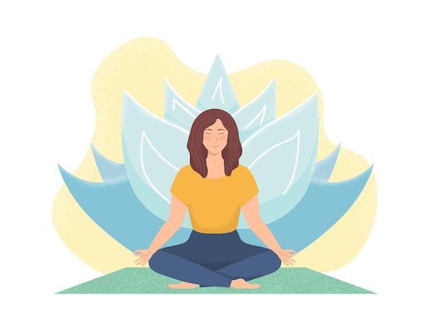 Женщина медитирует на природе. поза лотоса. дыхательные упражнения. духовная практика.