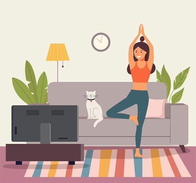 居間で瞑想している女性。ヨガの木のポーズの女性。
