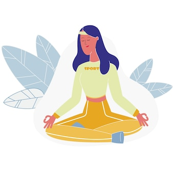 Woman meditating sitting in lotus posture, yoga