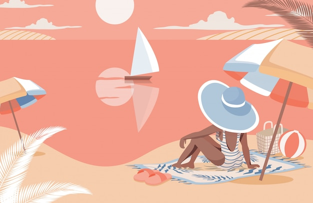 Woman meeting sunset on the beach flat illustration. summer vacation, enjoy holidays at sea resort.