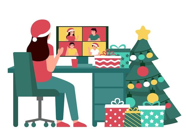 Женщина, встречающаяся с людьми в интернете на рождество, вид сзади видеозвонок виртуальных друзей