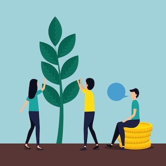 Woman and men teamwork with chat plant and coins