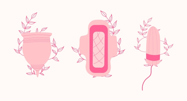 Woman menstruation higienic set. menstrual cup, tampon.