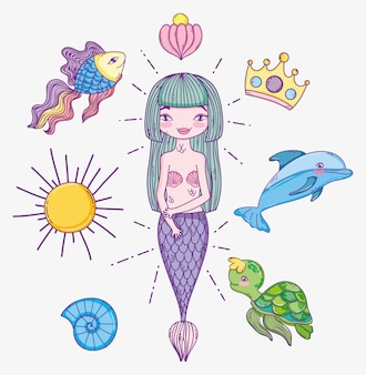 Woman mermaid with tropical sea animals