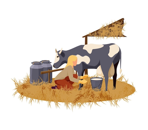 Woman milking cow on organic farm flat  illustration