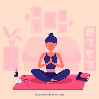 Woman mindfulness meditation background