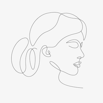 Woman minimal hand-drawn illustration. one-line style drawing.
